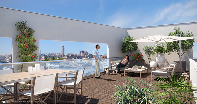 Depuis votre loggia ou terrasse, profitez de tous les horizons de la métropole nantaise